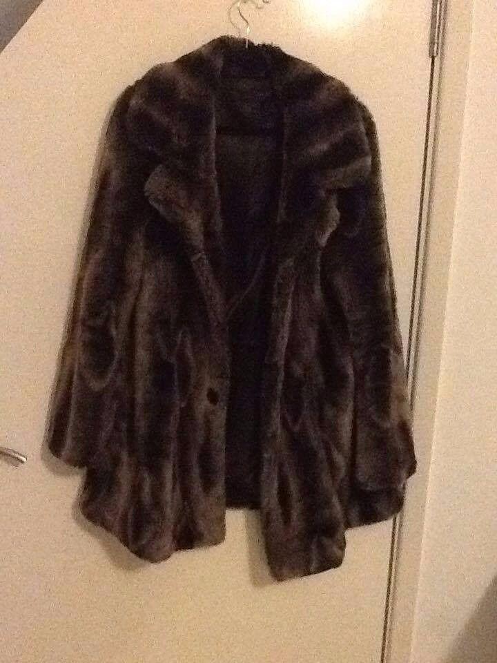miss selfridges fur coat size 14