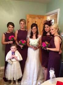 Wedding dress, hoop, 3 bridesmaids dresses and 3 shrugs