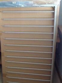 IKEA trouser hanger rail + clothes rail + led tube light.