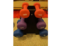 Gym equipment, dumbell, resistance band, mat, pull up bar, ankle weight