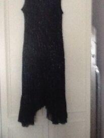 Jaques Verte size 16 navy beaded full length evening dress