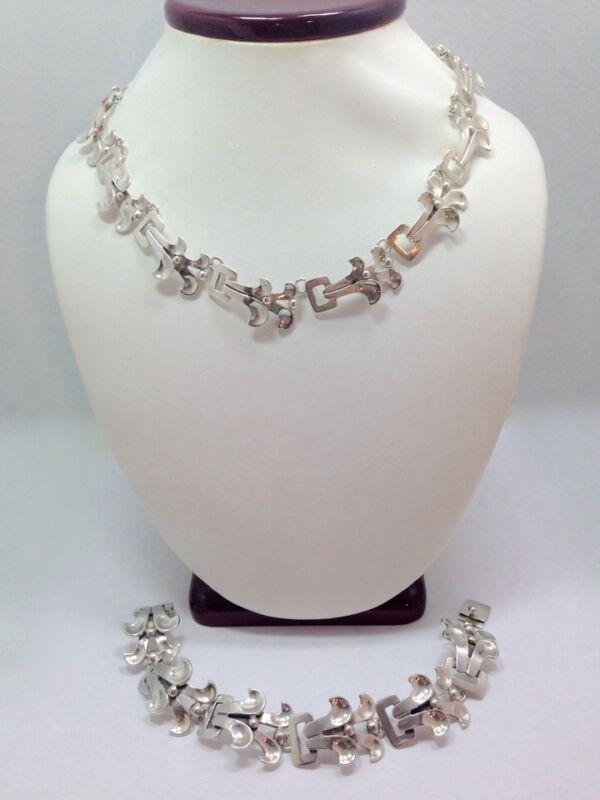 Vintage Taxco Miguel Martinez JLF Necklace 16 In & Bracelet 8 In Jewelry Set