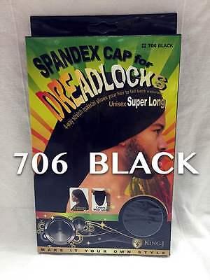 KING. J SPANDEX CAP FOR DREADLOCKS SUPER LONG CAP UNIXEX BLACK #706