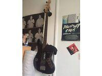 black fender bass guitar really good condition