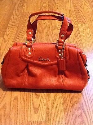 NWT!!! Coach F19247 Ashley Leather Satchel Handbag Tote Purse  Brass Vermillion dd78b79814