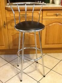 BLACK LEATHER EFFECT BAR STOOL