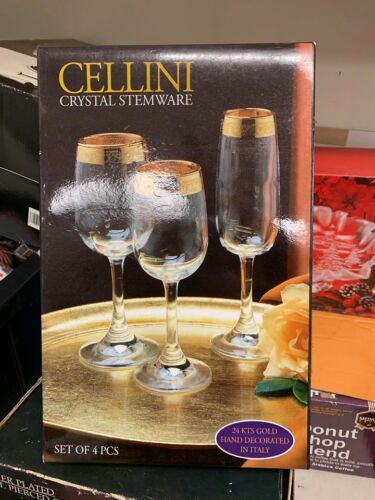 Vintage Cellini 24 KT Gold Crystal Stemware Hand Decorated Italy Set Of 4