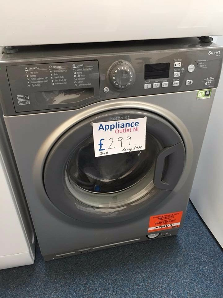 EX-DISPLAY HOTPOINT GRAPHITE 9 KG 1400 SPIN A++ WASHING MACHINE REF: 31411