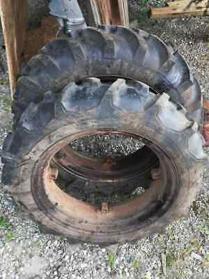 1949 Farmall Cub Rear Wheels Rims Tires 8.3 By 24 Great