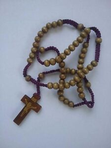 Corded Wooden Rosary (Brown Beads)