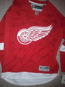 DETROIT RED WINGS TEAM SIGNED RBK JERSEY