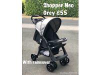 Exdisplay hauck shopper Neo black GREY unisex holiday pushchair pram buggy stroller lays flat
