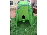 Toilet tent with solar shower and toilet