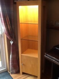 Wooden display cabinet with shelves and lighting