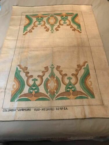 Vintage Columbia Burlap Rug Pattern
