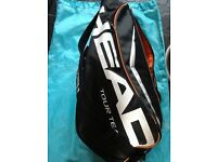 Head- 6 racket tennis carry bag with 9 balls inc.