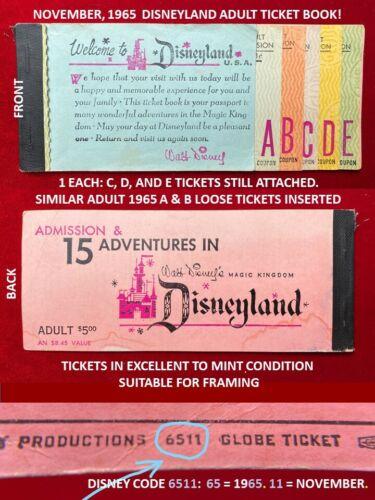 1965 Disneyland Adult A B C D E Ticket Book LONG E TICKET! Authentic Original T5