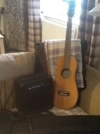 Ashbury travellers electro acoustic guitar with case and amplifier