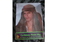 MENS CARIBBEAN PIRATE FANCY DRESS WIG WITH BANDANA GREAT FOR PARTY OR STAG DO