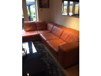 LEATHER L SHAPE SOFA AND MATCHING LOUNGER