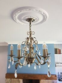 5 Lights Candle Style Floral Chandelier in Antique Brass