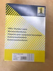 CLASSIC LASER & INKJET OFFICE MACHINE LABELS 100 SHEETS IN BOX