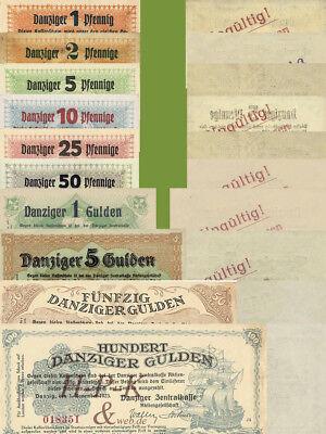 (Reproduktionen !)  Banknoten besetzter deutscher Gebiete Danzig 01.11.1923