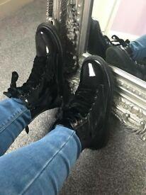 BNIB black patent ankle boots sizes 2,3