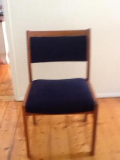 6 solid timber upholstered in navy fabric dining chairs Barwon Heads Outer Geelong Preview