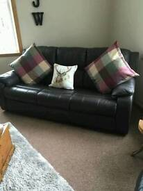 Leather sofa with reclining chairs