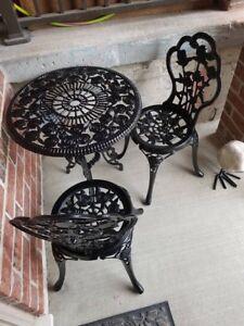 Refinished wrought iron bistro set w/ rose pattern