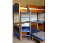 Stompa high-sleeper in pine/blue with sofa bed and pull out TV stand