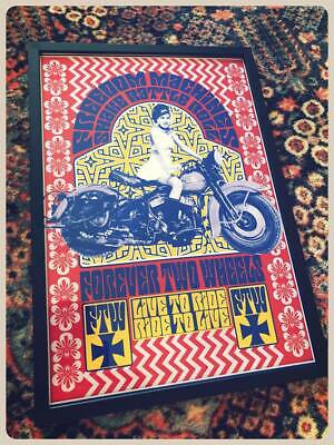 SHAKE RATTLE ROLL vintage psychedelic biker poster 60's 70's motorcycle harley