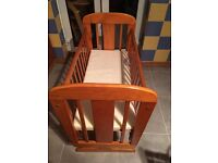 Wooden Crib. Cosatto. With brand new mattress. Excellent Condition.