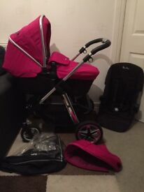 Silver Cross Raspberry Pink Pioneer With Car Seat