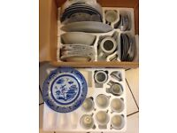 8 place setting Blue Chinese Garden Tableware with Tea Pot (New in the Box)