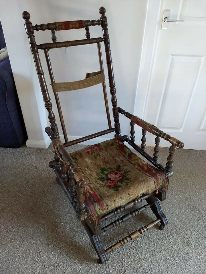 Antique Victorian American Rocking Chair Frame For