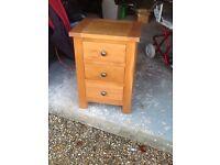 Oak 3 drawer bedsid cabinet 46cm wide, 37cm deep, 66cm high.