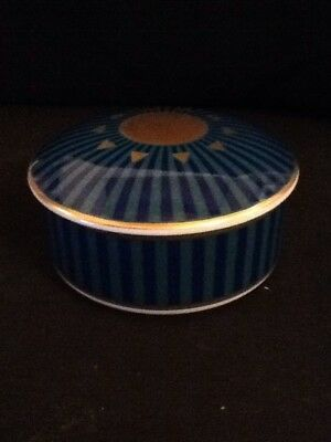 Tiffany & Co. Trinket Box Japan 1998 Inscribed Careerstaff Blue And Gold