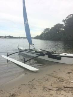 Sailing outrigger on registered custom trailer