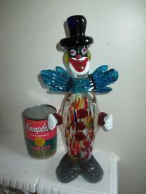 Vintage retro large original 1960s rare Murano glass clown, in red.