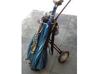 Set of golf clubs,bag, trolley, umbrella, shoes size 8 , a bag of golf balls £40.00