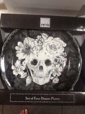 222Fifth Marbella Skull Halloween 4 New In Box Dinner Plates