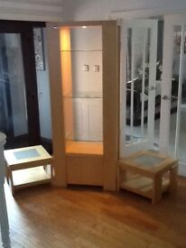 Beech unit with lighting and glass shelves with 2 matching glass insert side tables