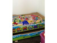 Childs train table with drawer and train set