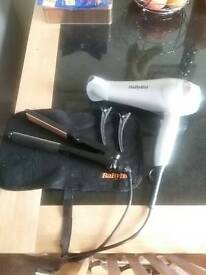 Hair dryer and straighteners