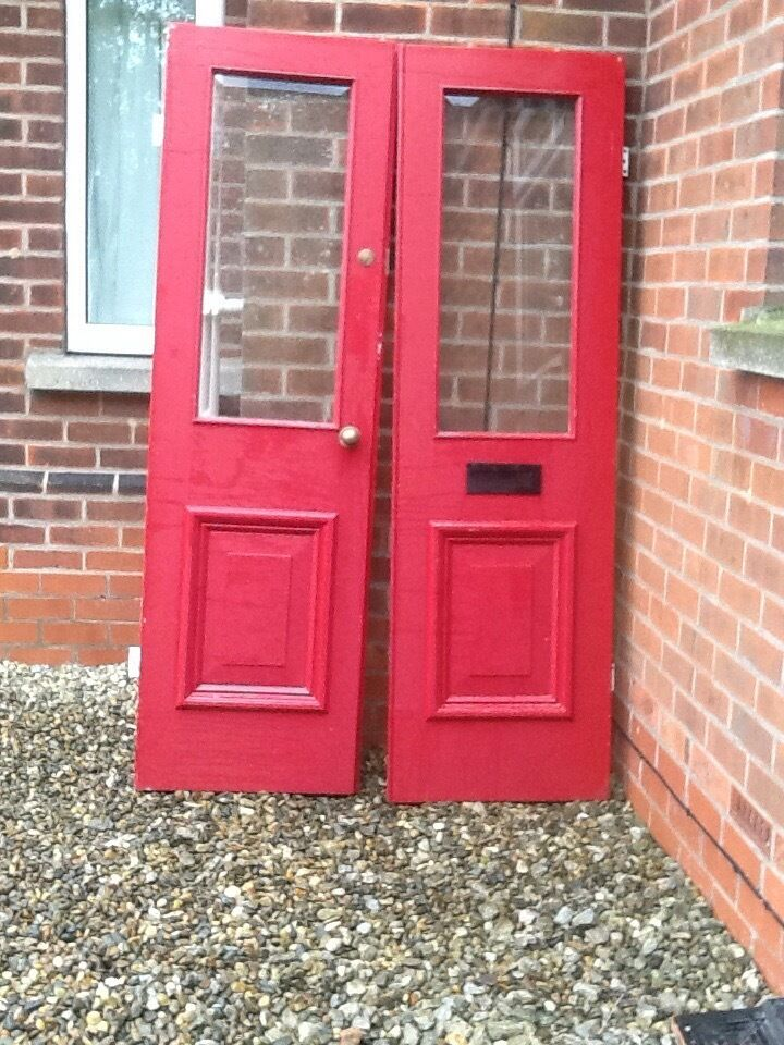 Reclaimed 1930s wooden external double doors with bevelled glass panels
