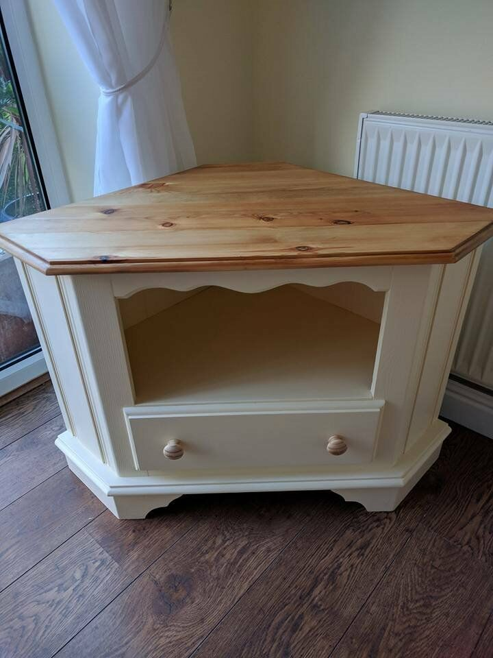 TV unit Painted in cream top sanded bare and waxed for protection