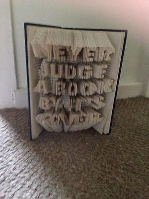 Book Folding Pattern - Mark Measure Cut & Fold - Never Judge a book by its cover