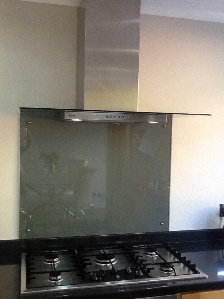 900mm Cooker Hoods GLASS STEEL Including SPLASHBACK
